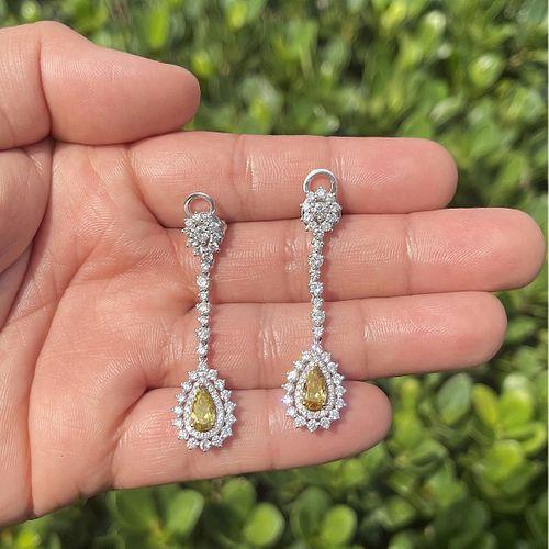 Fancy Color Diamond and 18K Earrings