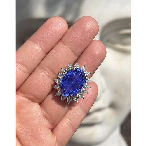 GIA / AGL 33.64 Ceylon Sapphire Ring