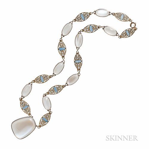 Tiffany & Co. Moonstone and Enamel Necklace