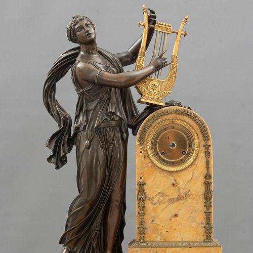 "Reloj de chimenea. Francia, siglo XIX.  Estilo Imperio. Mecanismo marcado ""THOMIRE & CO, PARIS. MOINET AINÉ HGER""."