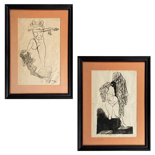 JOSÉ CLEMENTE OROZCO. Lote de 2 obras.  Sin títulos. Firmadas y fechadas en plancha 1945. Zincografías. Enmarcadas.