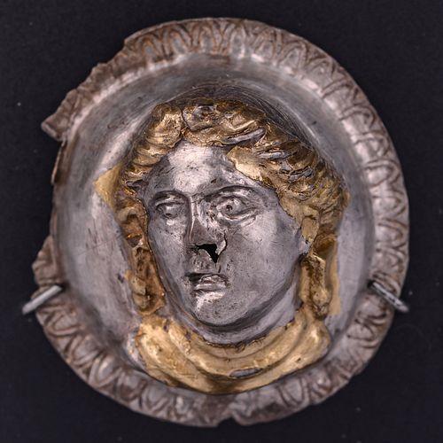 A Thracian Gilt-Silver Tondo of a Female Bust Diameter 1 1/4 inches.