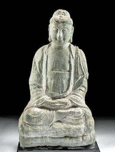 Chinese Tang Dynasty Stone Buddha Shakyamuni Statue