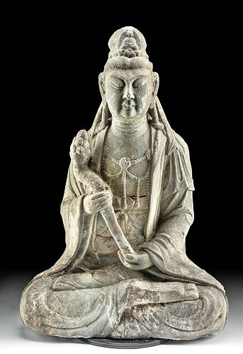 Chinese Ming Stone Statue of Guanyin w/ Lotus Flower