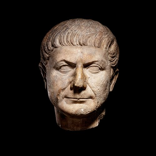 A Roman Marble Portrait Head of Emperor Trajan Height 11 inches.