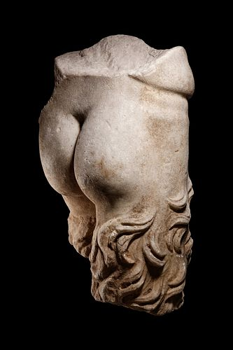 A Roman Marble Lower Torso of a Satyr Height 18 1/2 inches.