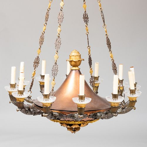 Empire Style Gilt-Bronze and Metal Twelve-Light Chandelier