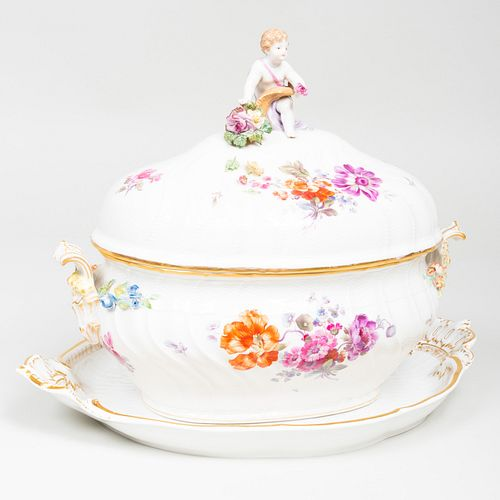 K.P.M. Porcelain Tureen, Cover and an Underplate