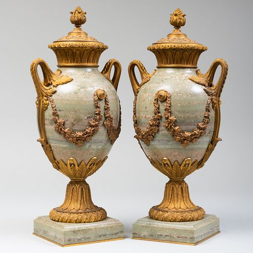 Pair of Continental Gilt-Metal-Mounted Marble Urns and Covers