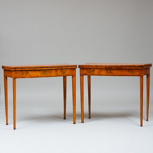 Pair of George III Serpentine-Fronted Satinwood and Tulipwood Marquetry Games Tables