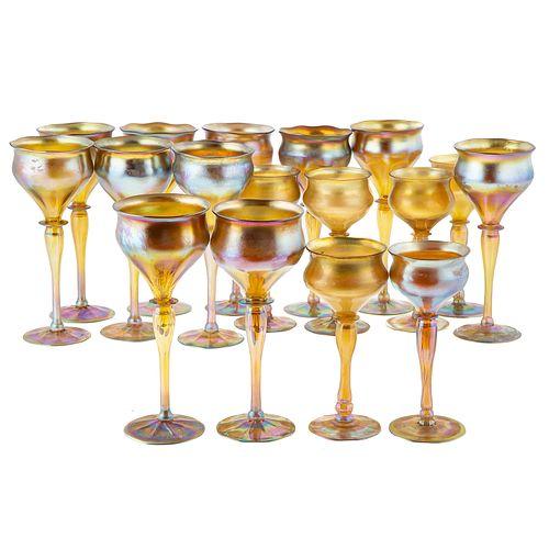 Set of 17 Tiffany Favrile Glass Wine Stems