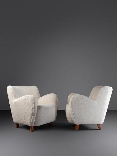 Mogens Lassen, Attribution (Danish, 1901-1987) Pair of Armchairs, c. 1945