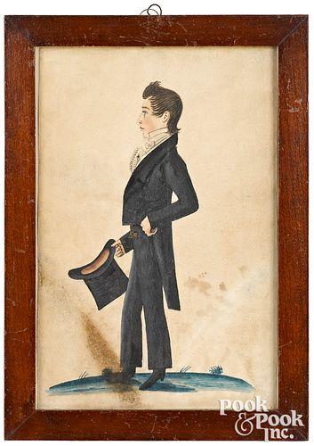 Jacob Maentel pair of watercolor profile portraits