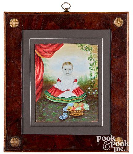 Mrs. Moses B. Russell vibrant miniature portrait