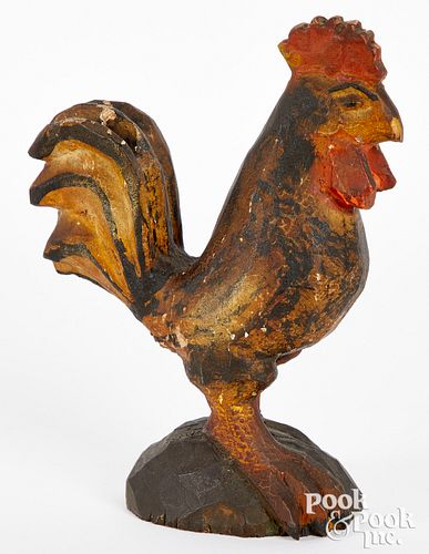 Wilhelm Schimmel carved and painted rooster