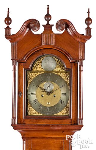 Chester County Chippendale cherry tall case clock
