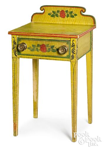 Maine painted pine one-drawer stand, ca. 1835