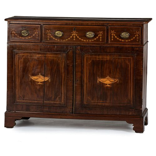 A George III Marquetry and Banded Mahogany Sideboard, circa 1790 and later