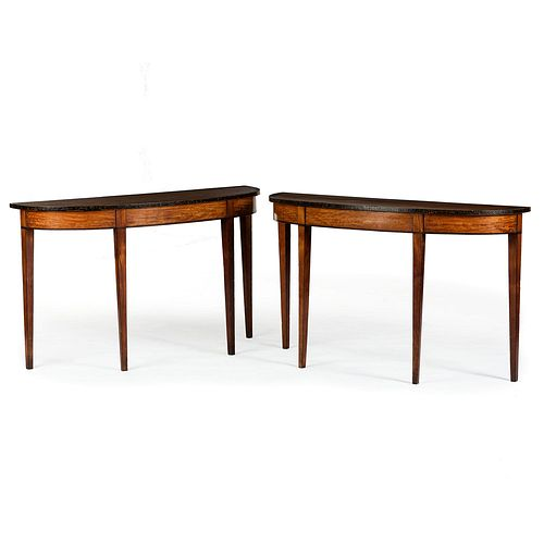 A Pair of Edwardian Mahogany and Satinwood Demilune Tables