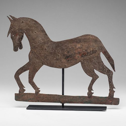 A Cut and Wrought Iron Horse Weathervane