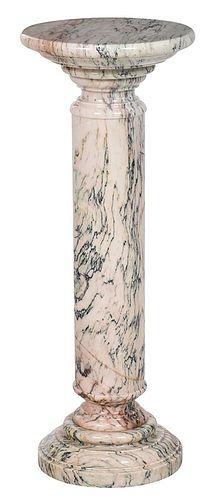Variegated Marble Column Form Pedestal