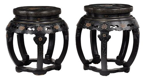 Pair Chinese Black Lacquered Polychrome Taborets