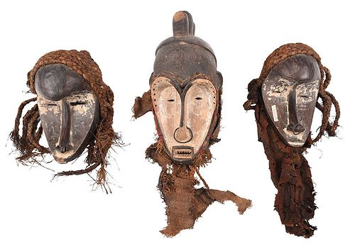 Three West African Carved Fang Style Masks