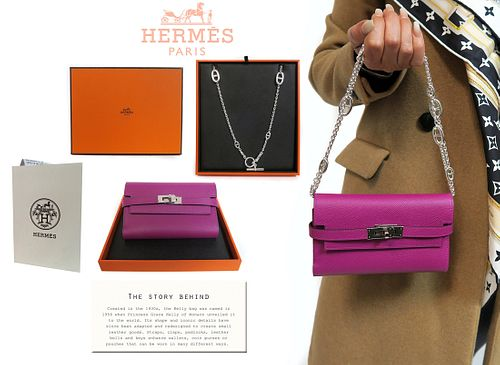 A Hermes Kelly Bag with Sterling Silver Strap