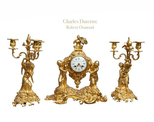18th C. French Chinoiserie Ormolu Bronze Clock Set