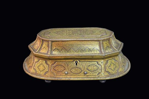 Museum Quality Indian Gold Inlaid Steel Jewelry Box