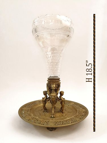 F. Barbedienne Bronze & Baccarat Crystal Centerpiece
