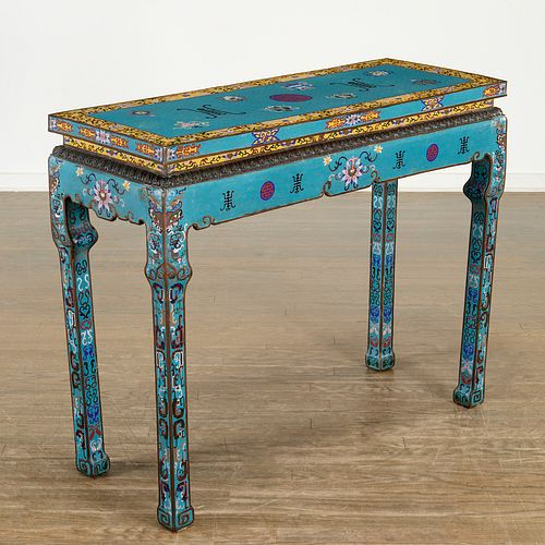 Antique Chinese cloisonne altar table