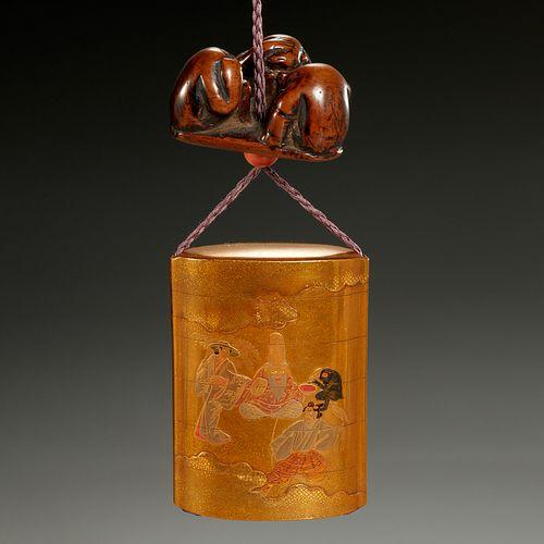 Japanee gilt maki-e lacquer inro and netsuke