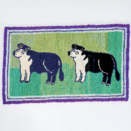 American Folk Guernsey cow rag rug