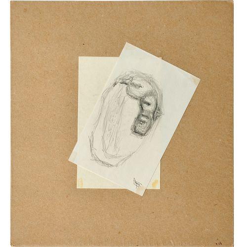 Frederick Kiesler, pencil drawing on paper, 1962