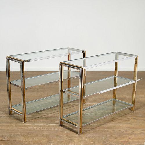 Pair Modern chrome and brass shelf consoles
