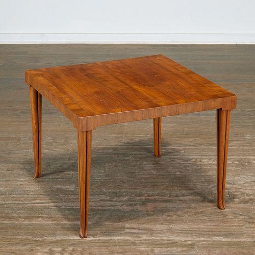 T.H. Robsjohn-Gibbings, walnut side table, Baker