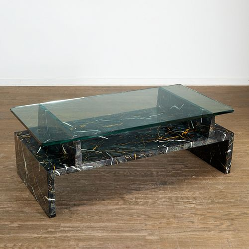 Tommi Parzinger, faux marble painted coffee table