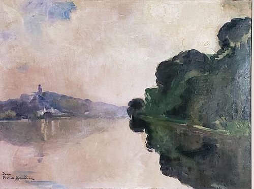Jean Franck Baudoin Oil, River Landscape