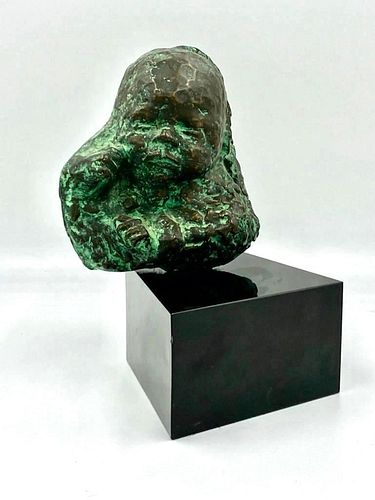 Bronze Head of a Baby, Signed JG