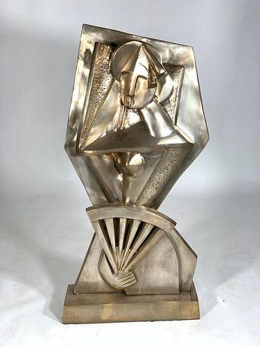 Cast Bronze Figure, Woman with Fan