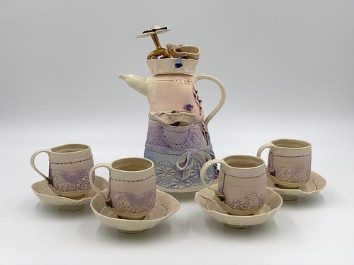 Handmade Porcelain Tea Service, Signed Puey