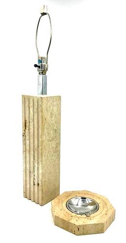 Raymor Travertine Table Lamp and Metal Ash Receiver
