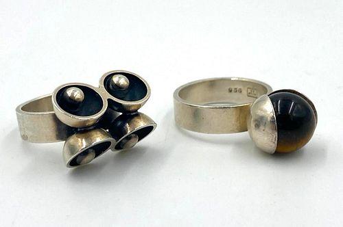 Two Elis Kauppi For Kupittaan Kulta Sterling Rings