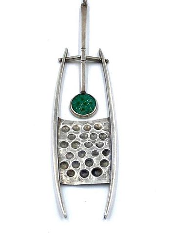 Attributed Theodor Fahner Jade and Silver Necklace