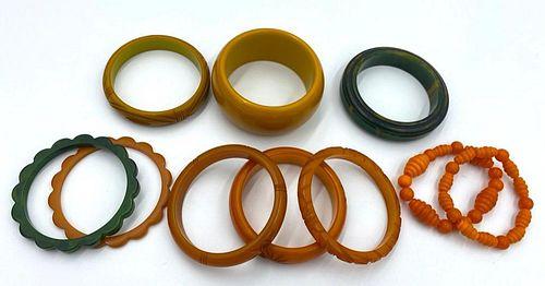 Lot of 10 Bakelite Bangle Bracelets