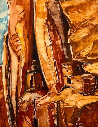 """Garnet Moore Keeney Watercolor, """"Cliff Dwellings of the Southwest"""""""