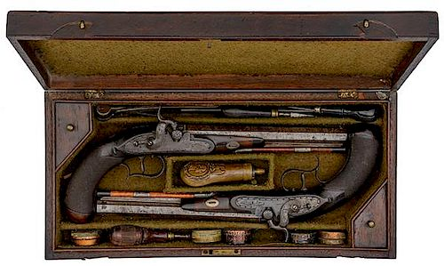 Cased Pair of Simeon North Dueling Pistols with Documents