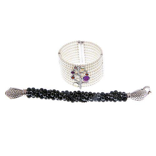 Two Sterling Decorative Bracelets
