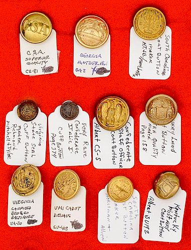 Confederate and Southern State Buttons, Lot of 11 by Cowan's